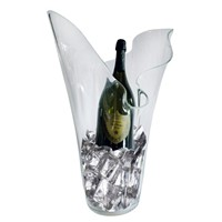 Impressive Large Organic Wave Clear Glass Vase