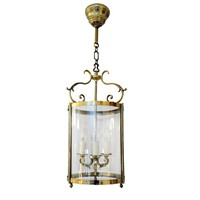 French Louis XVI Style Brass Hanging Lantern