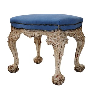 English George II Style Painted & Carved Stool