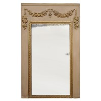 French Louis XVI Painted & Gilt Trumeau Mirror