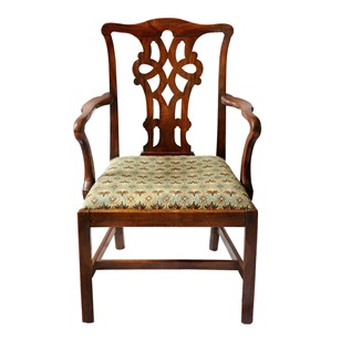 George III Chippendale Style Open Arm Chair