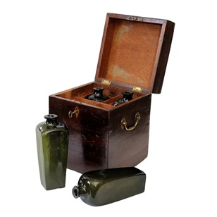 George III Decanter Box With Four Glass Bottles