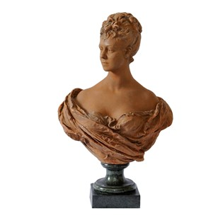 French Terracotta Bust of A Young Noble Woman
