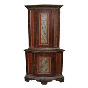 Small Rare Swedish Baroque Corner Cupboard