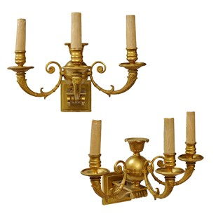 Pair Of French Empire Gilt Bronze Wall Lights