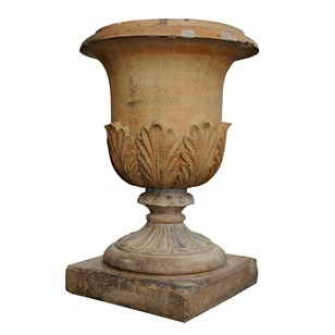 Large English Faux Terracotta Stoneware Urn