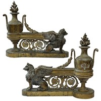 Fine pair of French Louis XVI Gilt Brass Fire Dogs