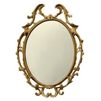 Large George II Style Carved Wood Gilt Mirror
