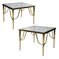 Pair of Brass & Glass Classic Design Side Tables