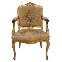 Louis XV Style Giltwood Open Arm Chair