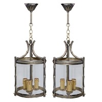 Pair of Small French Faux Bamboo Lanterns