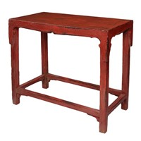 Chinese 18th Century Red Painted Elm Side Table