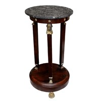 French Empire Napoleonic Marble Top Side Table