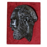 French Bronze Portrait Plaque of Greek Philosopher