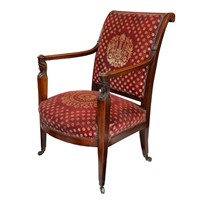 French Empire Revival Open Arm Chair