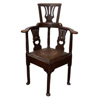 English George III Painted Corner Chair