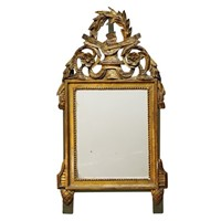 French Louis XVI Carved Giltwood & Painted Mirror