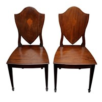 Pair of Mahogany Sheraton Style Hall Chairs