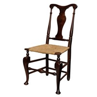 Rare George II Yew Wood Rush Seated Side Chair
