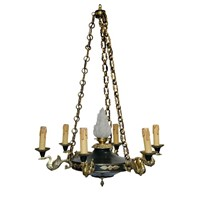 French Napoleonic Style Tole & Brass Chandelier