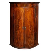 English George III Bow Corner Cupboard