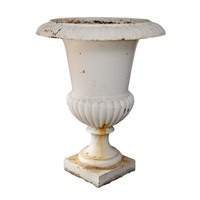 French Painted Mid 19th Century Cast Iron Urn