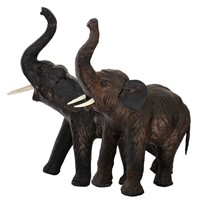 Pair of leather Covered Indian Elephants