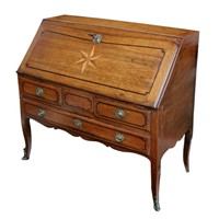 Small Louis XV Oak & Inlaid 18th Century Bureau