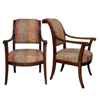 Pair of French Consular/Empire Open Arm Chairs