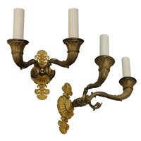 Pair Of French Napoleonic Gilt Bronze Wall Lights
