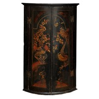 George II Bow Fronted Lacquer Corner Cupboard