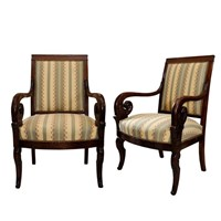 Pair of French Empire Mahogany Open Armchairs