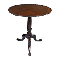 Irish George III Mahogany Pie Crust Tripod Table