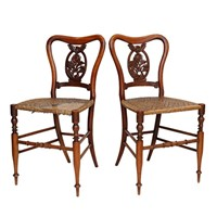 Pair of Anglo Indian Satinwood Side Chairs