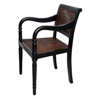 Anglo Indian Ebonised Desk/Open Arm Chair