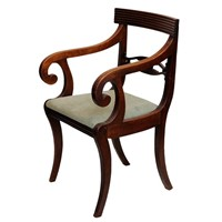 Scottish Regency Mahogany Desk/Open Armchair