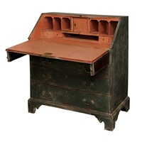 English George III Painted Oak Bureau