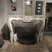 19th century fireplace in limestone