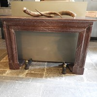 "19thC fireplace in red ""Campan"" marble"