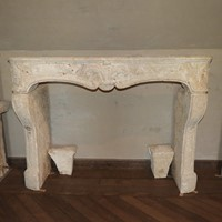 18th century rustic Limestone fireplace