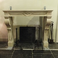19th century Directoire fireplace in limestone