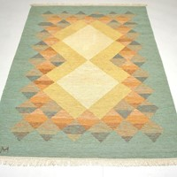 Swedish Mid century rug Signed JM
