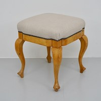 Reupholstered Satin Birch Stool