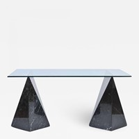 Nero Marquina Marble and Glass Top Table