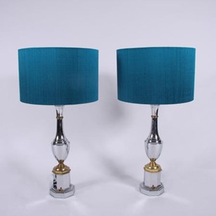 Pair of French Mid Century Chrome Table Lamps
