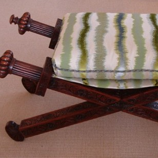 Large Palisander X-frame Oriental Empire seat.