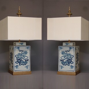 Pair square Chinese lidded vases as lamps
