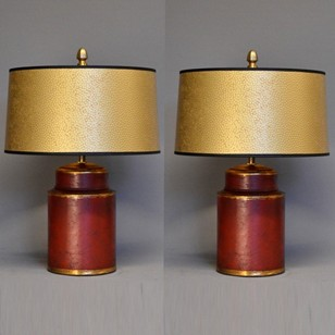 Pair of small Pharmacy caddies mounted as lamps