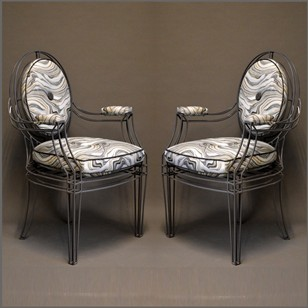 Pair of metal framed louis xvi arm chairs