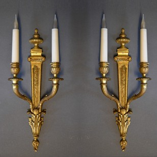 Pair of brass  two light wall lamps